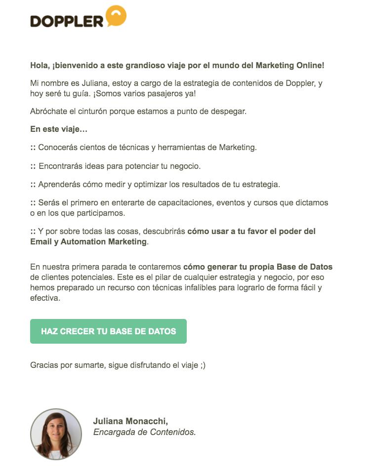 email bienvenida